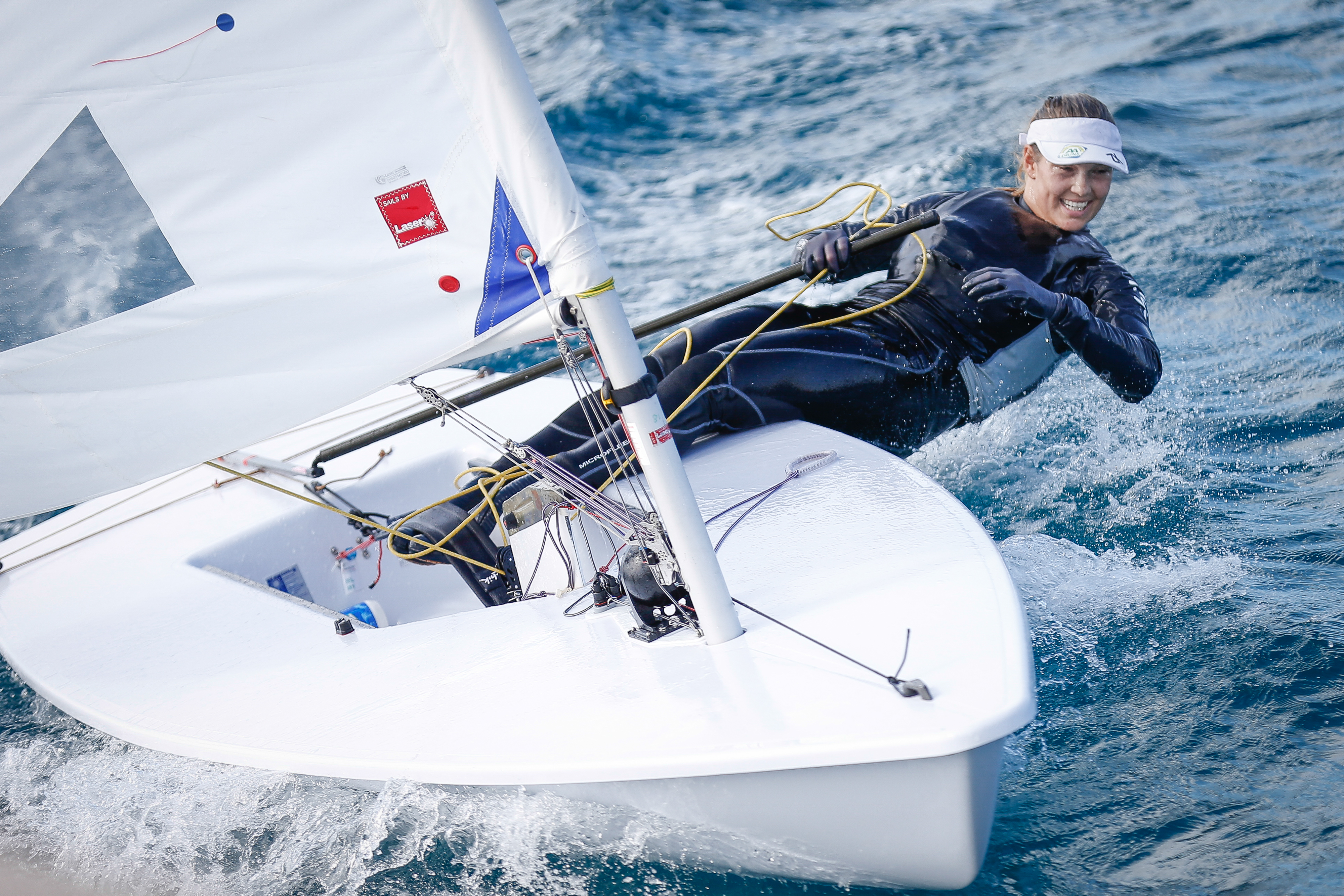 20131116 - LANZAROTE, SPAIN: Sailor Evi Van Acker pictured during a training session at the BOIC-COIB Belgian Olympic Committee sports camp, Saturday 16 November 2013, in Lanzarote, Spain. BELGA PHOTO BRUNO FAHY