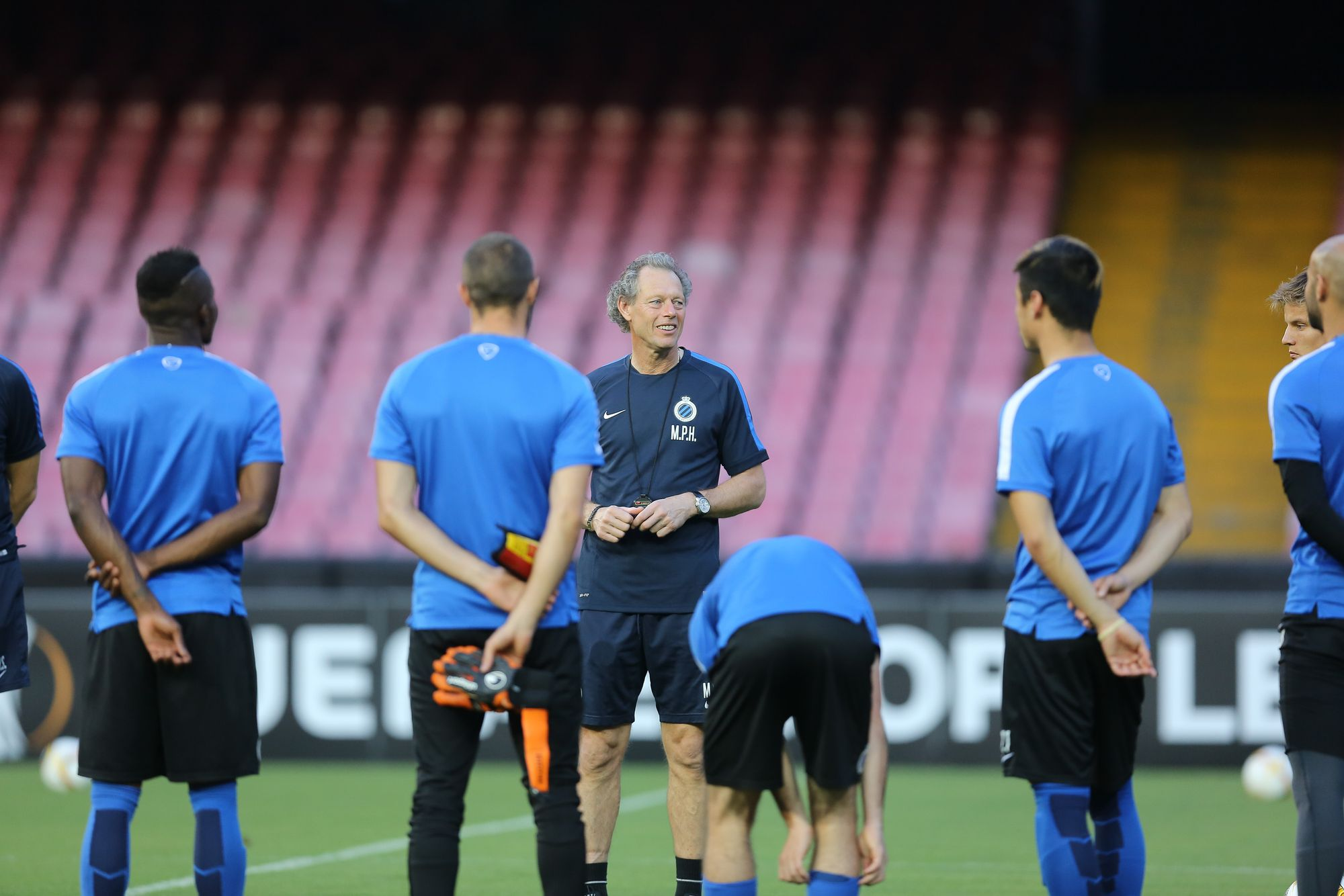 20150916 - NAPLES, ITALY: Club's head coach Michel Preud'homme pictured during a training session in San Paolo stadium in Naples, Italy, Wednesday 16 September 2015. Tomorrow first league soccer club Club Brugge will play the first game in the group stage of the Uefa Europa League competition against Italian club SSC Napoli, in the group D. BELGA PHOTO BRUNO FAHY