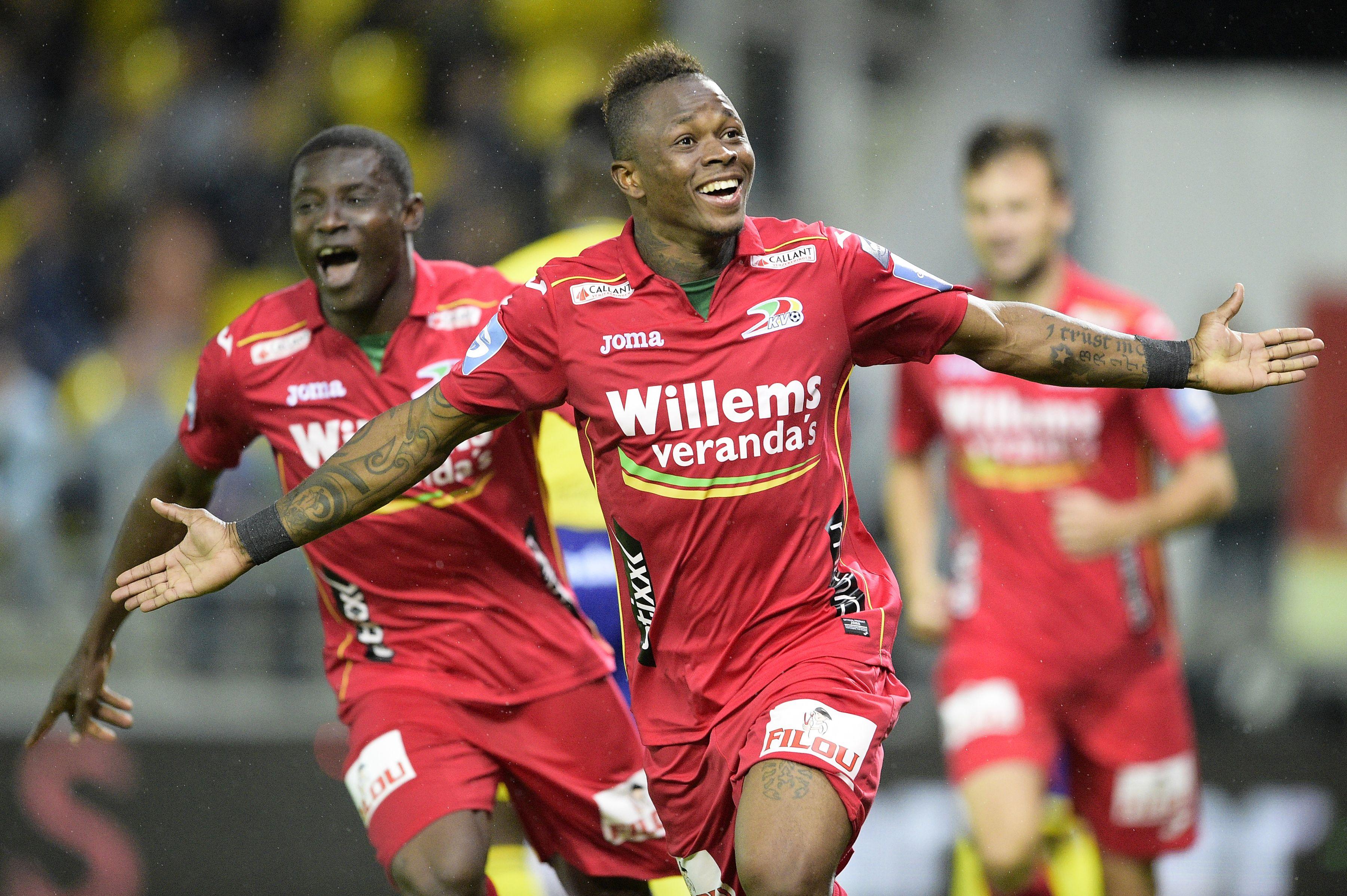Gohi Bi Cyriac scoorde een hattrick voor KV Oostende en was dé uitblinker van de speeldag. (foto belga)