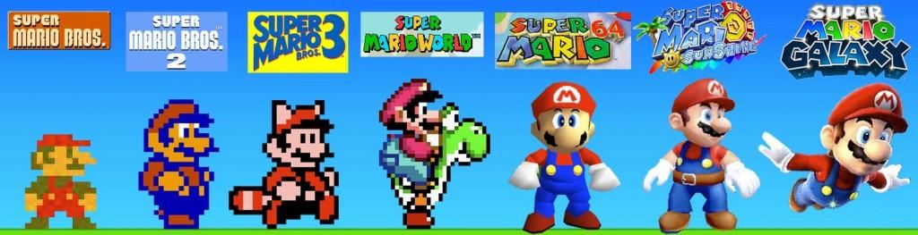 Mario door de jaren heen. Wist je dat Mario een pet draagt omdat Miyamoto moeilijk haar kon tekenen? Hij draagt ook een rode overall om meer op te vallen tegenover de achtergrond.