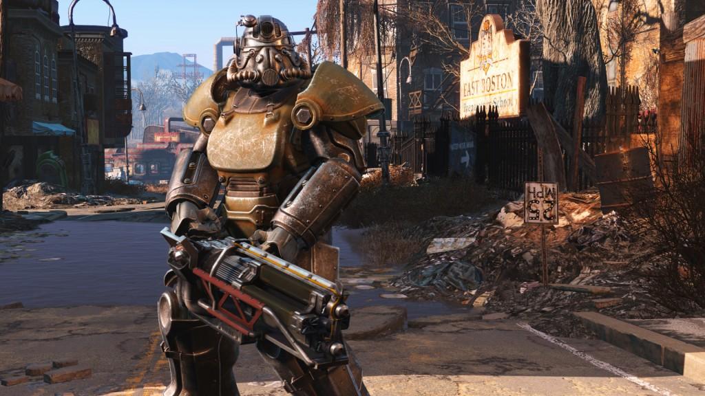 Je ontmoet wandelende takns met dit 'power armor', maar je kan er ook zelf in rondlopen.