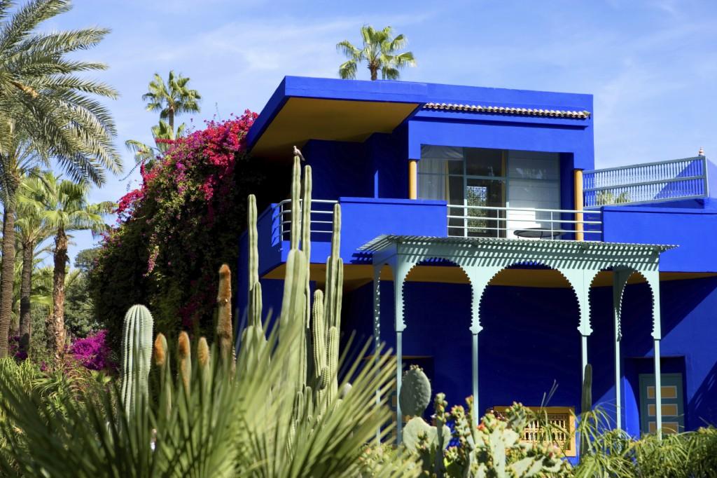 De indrukwekkende villa in Jardin Majorelle.