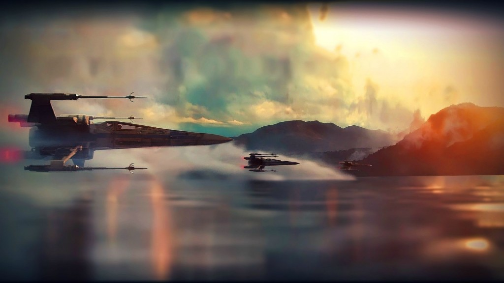 X-Wings die over het water vliegen: 'The Force Awakens' zit vol mooie shots als deze.