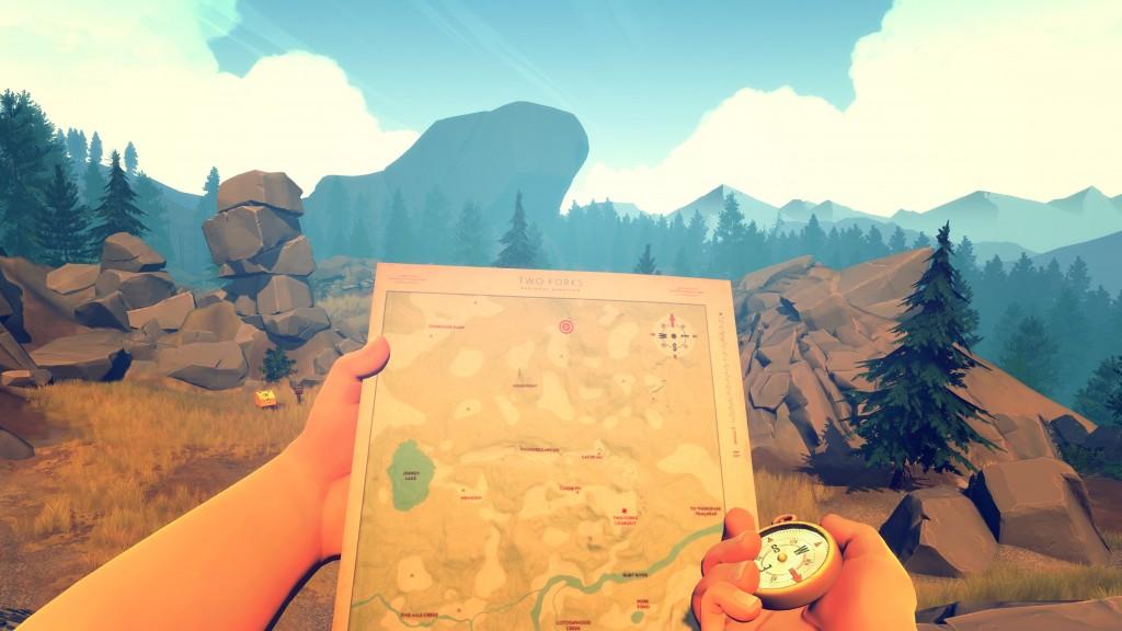 'Firewatch' is ook old school: met kompas en kaart moet je je doel vinden.