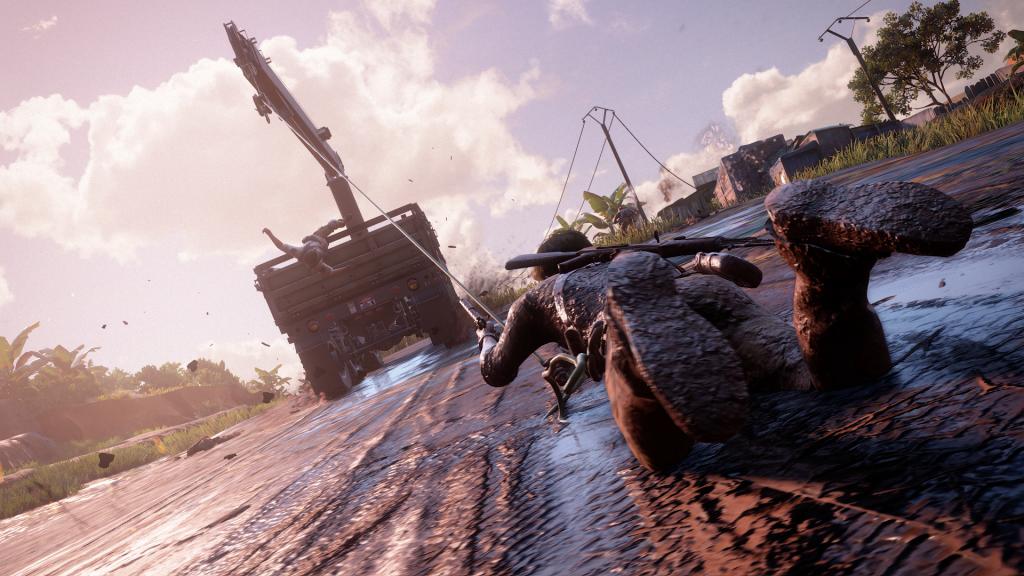 In de modder meegesleurd worden door een truck... ook dat is Uncharted.