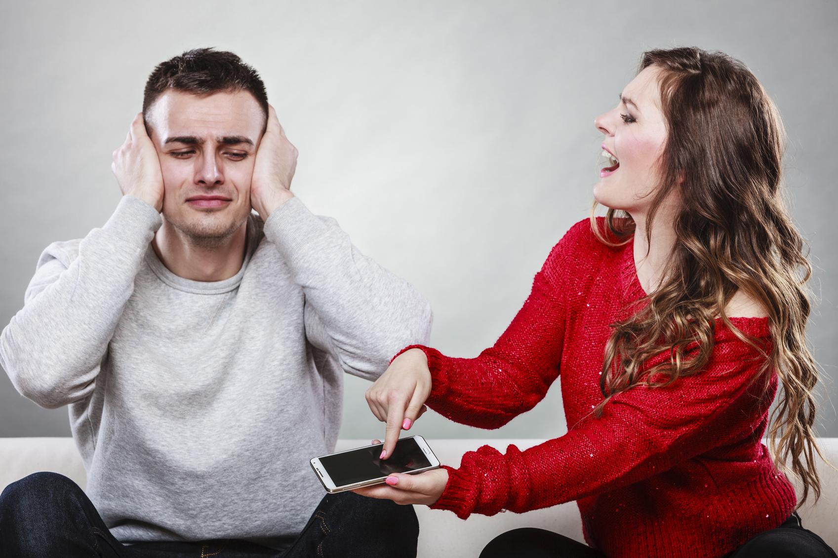 Wife shouting at husband. Cheating man. Betrayal.