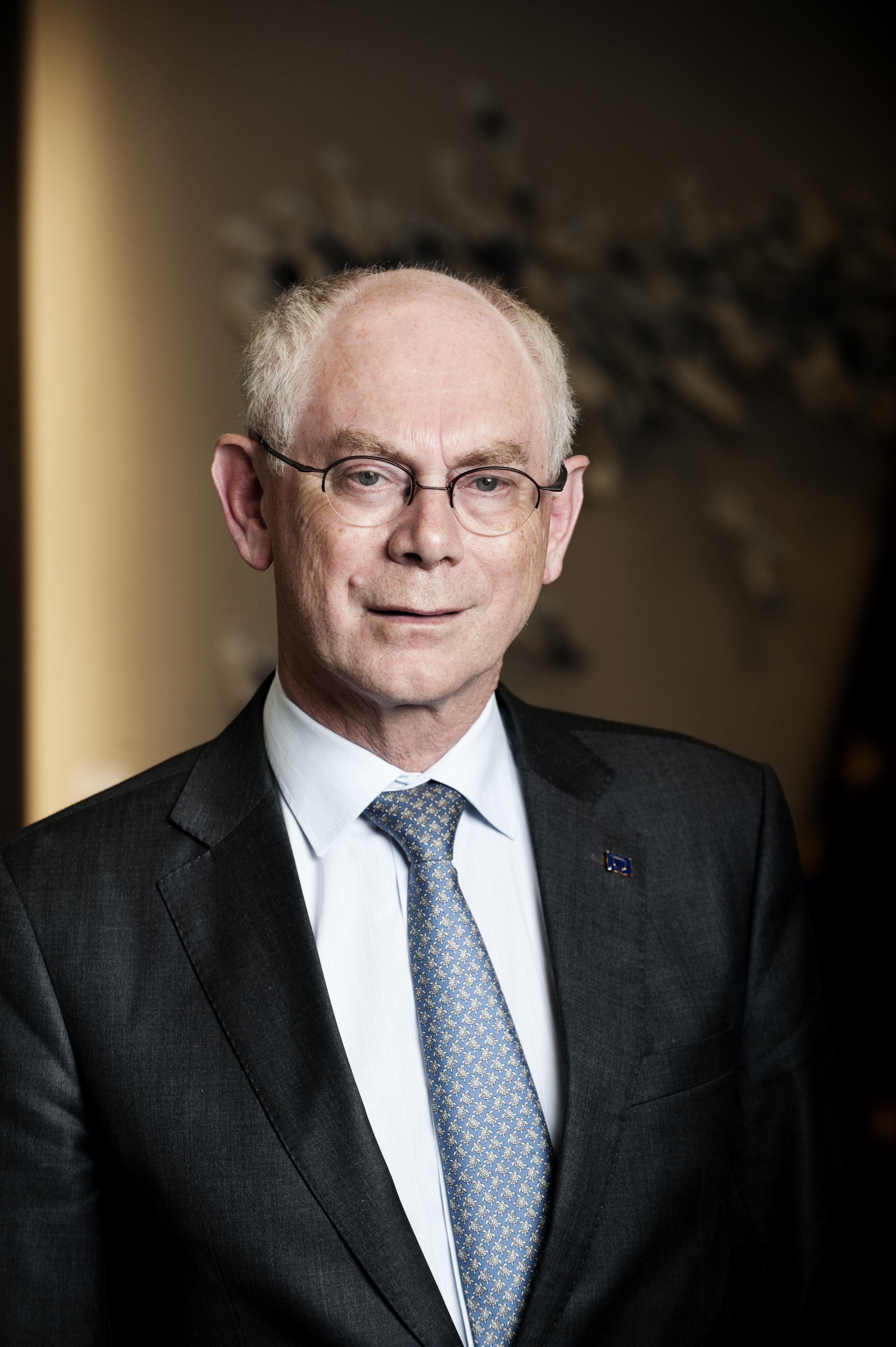 """Herman Van Rompuy: """"Dat de lidstaten het spreidingsplan voor vluchtelingen niet uitvoeren, is natuurlijk pijnlijk. Maar niet alleen een land als Hongarije treft schuld, hè. Ook ons land doet niet genoeg. En vele andere."""" (foto belga)"""