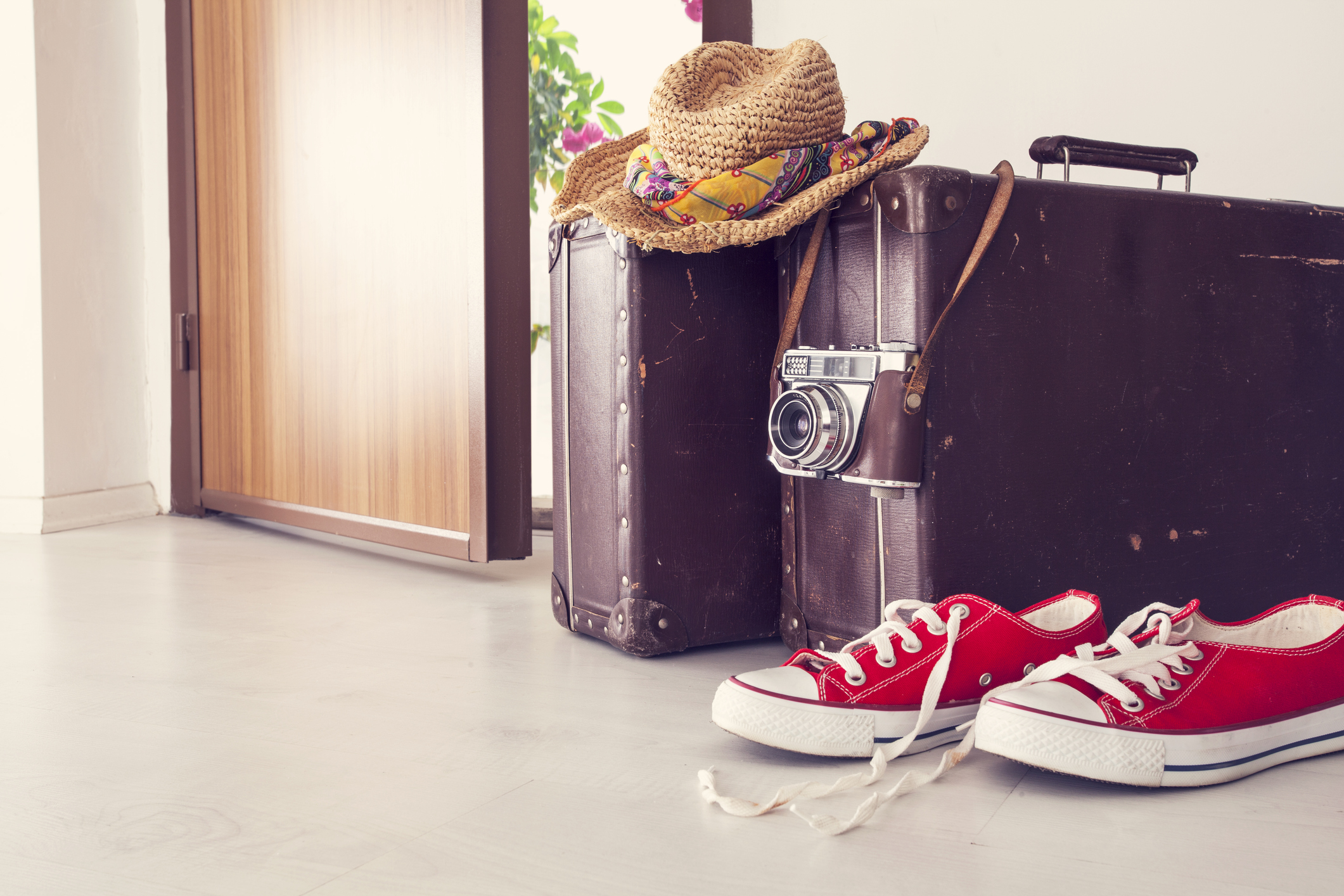 Vacation suitcase by front door