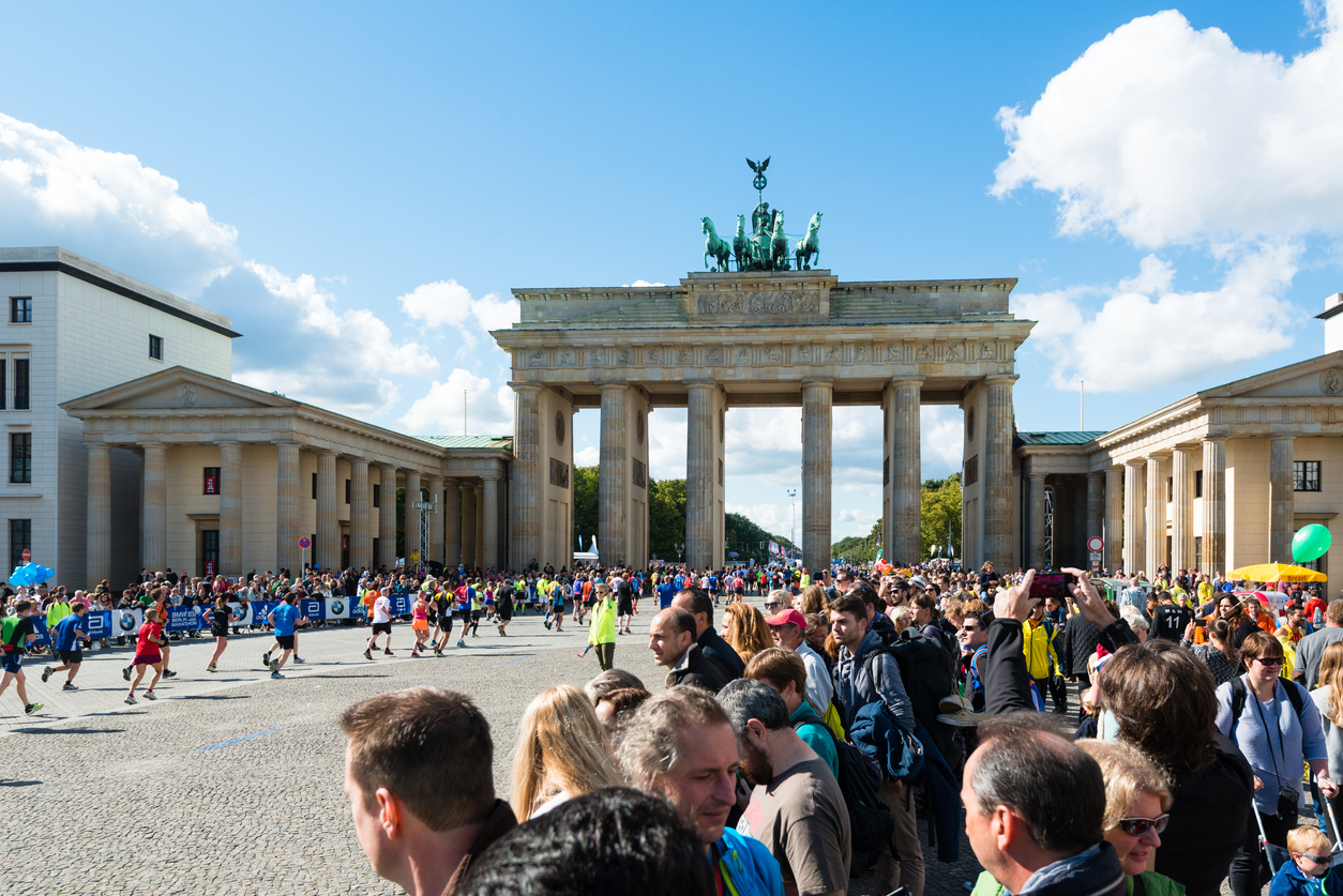 Participants of Berlin Marathon finishing at the Brandenburg Gate