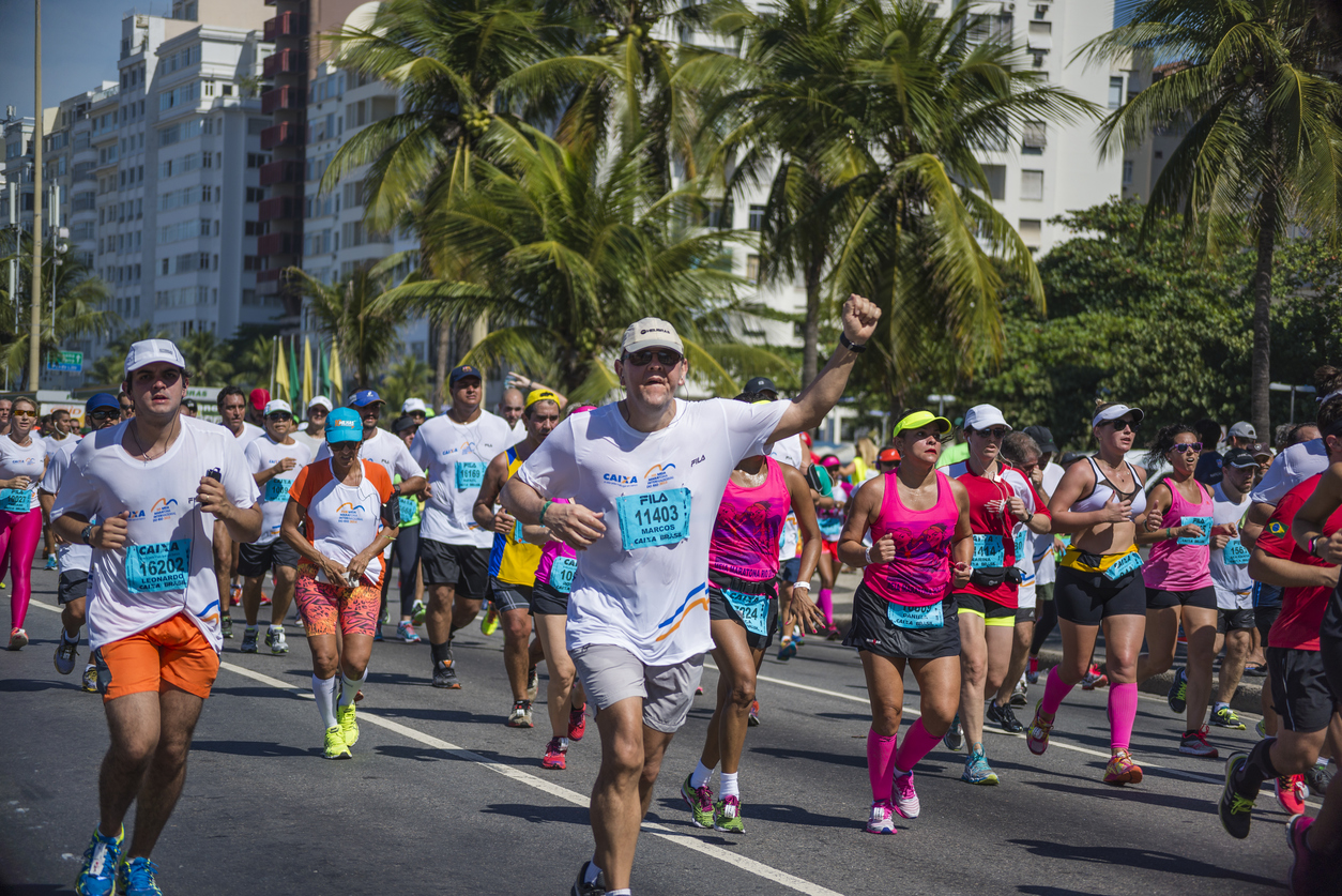 Marathon runners, Copacabana, Rio de Janeiro, Brazil