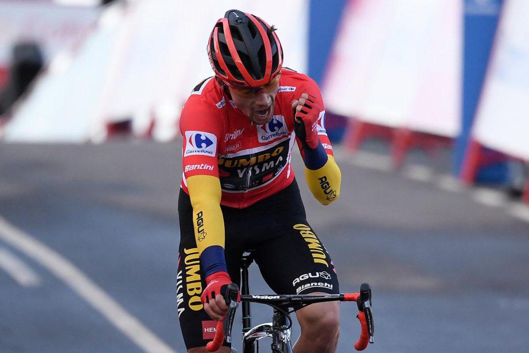 David Gaudi won gisteren op La Covatilla zijn tweede bergrit in deze Vuelta, maar het nieuws van de dag was dat Primoz Roglic ondanks een aanval van Richard Carapaz zijn rode leiderstrui behield. (foto Belga)